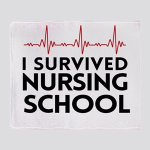 I survived nursing school Throw Blanket