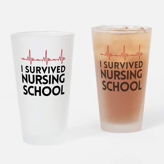 I survived nursing school Drinking Glass