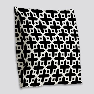 Cross Section Pattern Black and White Burlap Throw