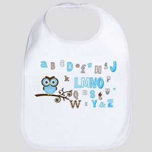 Owl and Alphabet (blue) Bib