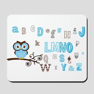 Owl and Alphabet (blue) Mousepad