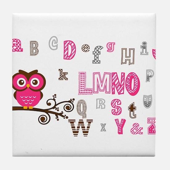Owl and Alphabet (pink) Tile Coaster