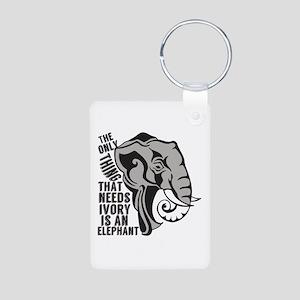 Save Elephants Aluminum Photo Keychain