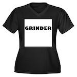 GRINDER Women's Plus Size V-Neck Dark T-Shirt