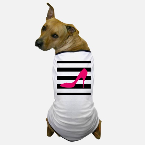 Hot Pink Heel on Black White Dog T-Shirt