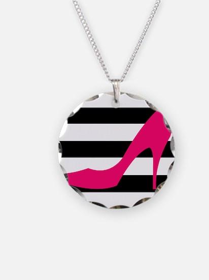 Hot Pink Heel on Black White Necklace