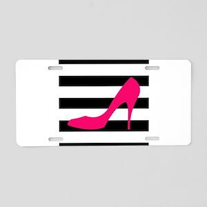 Hot Pink Heel on Black White Aluminum License Plat