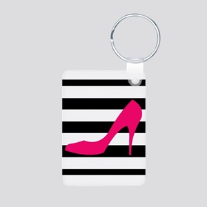 Hot Pink Heel on Black White Keychains