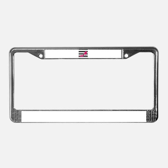 Hot Pink Heel on Black White License Plate Frame