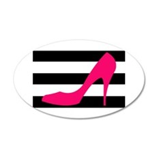 Hot Pink Heel on Black White Wall Decal