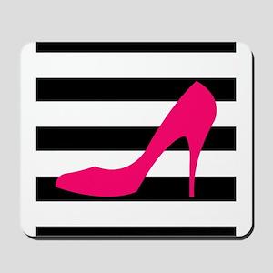 Hot Pink Heel on Black White Mousepad