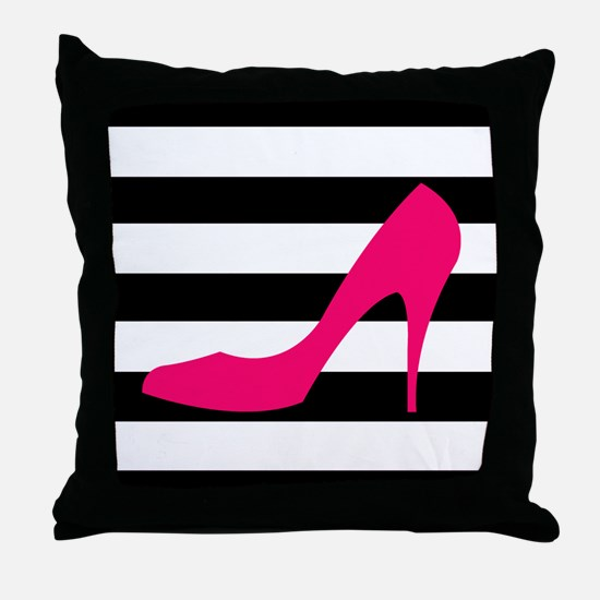 Hot Pink Heel on Black White Throw Pillow