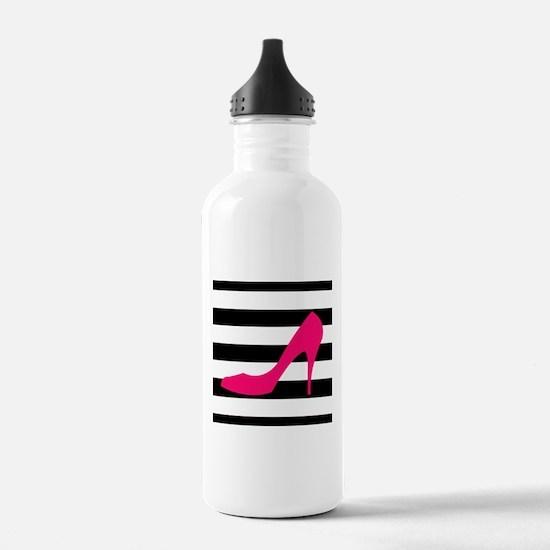 Hot Pink Heel on Black White Water Bottle