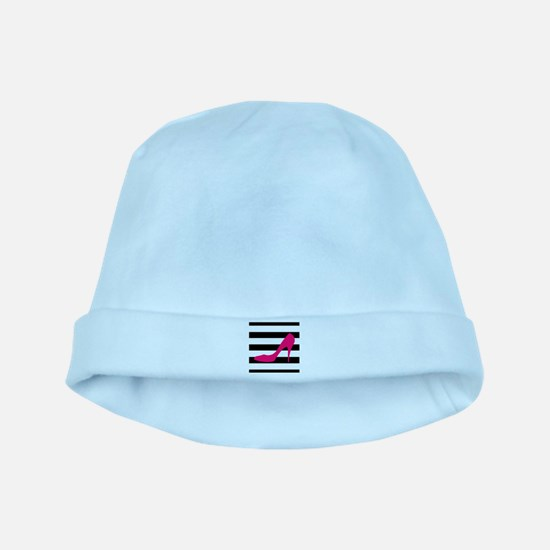 Hot Pink Heel on Black White baby hat