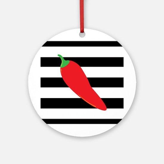 Chili Pepper on Stripes Ornament (Round)
