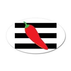Chili Pepper on Stripes Wall Decal