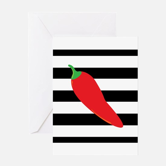 Chili Pepper on Stripes Greeting Cards