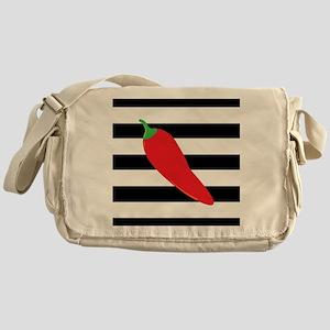 Chili Pepper on Stripes Messenger Bag