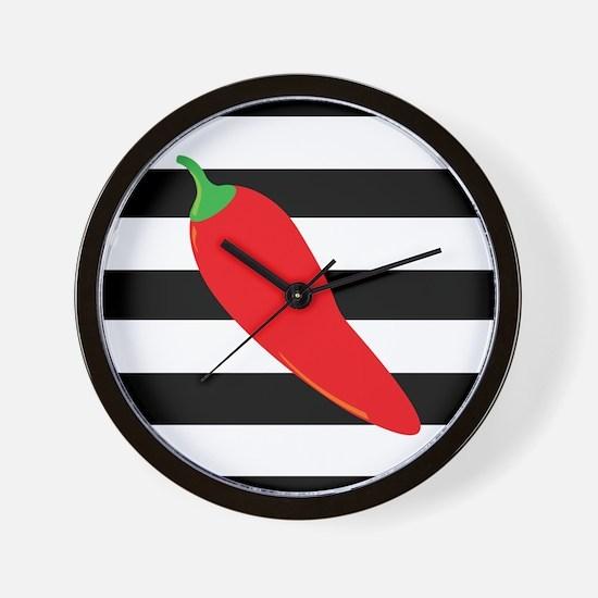 Chili Pepper on Stripes Wall Clock