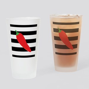Chili Pepper on Stripes Drinking Glass