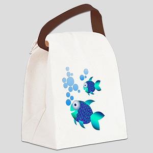 Poissons bleus Canvas Lunch Bag