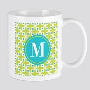 Monogram Cross Pattern Lime and Turquoise Mugs