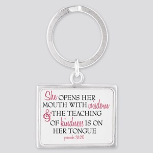 Proverbs 31:26 Speaks with Wisd Landscape Keychain