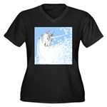Blue Unicorn Dream Women's Plus Size V-Neck Dark T