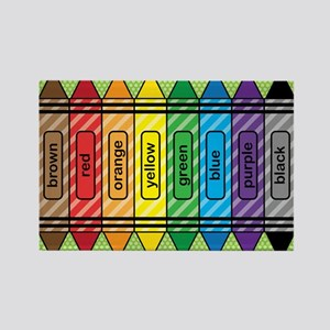 Rainbow Crayons Rectangle Magnet