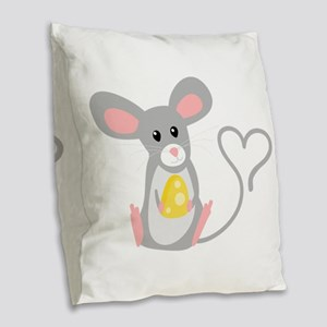 Little Mouse Burlap Throw Pillow