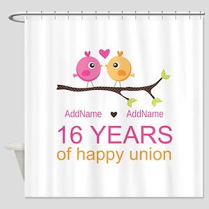 16th Custom Wedding Anniversary Shower Curtain