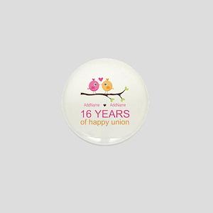 16th Custom Wedding Anniversary Mini Button