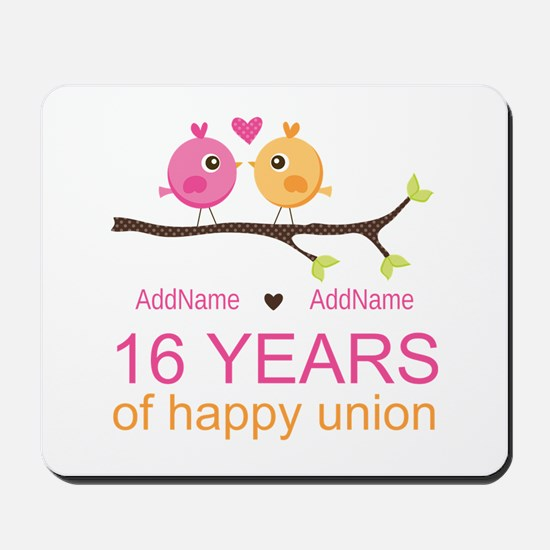 16th Custom Wedding Anniversary Mousepad