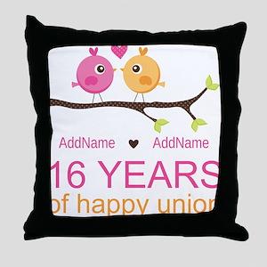 16th Custom Wedding Anniversary Throw Pillow