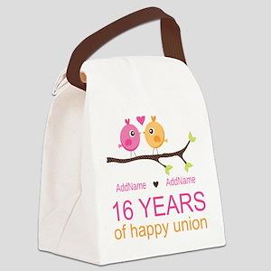 16th Custom Wedding Anniversary Canvas Lunch Bag