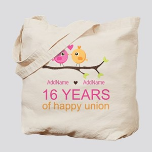 16th Custom Wedding Anniversary Tote Bag
