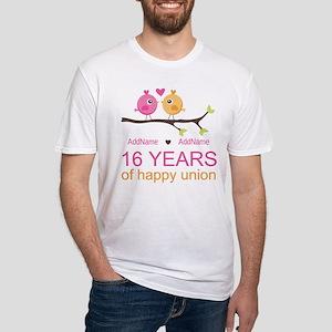 16th Custom Wedding Anniversary Fitted T-Shirt
