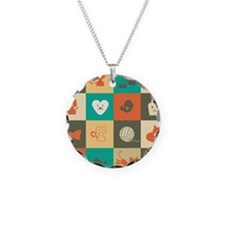 Retro Cats Necklace Circle Charm