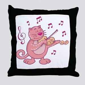 Pink Cat with Violin Throw Pillow