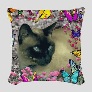 Stella Cat Butterflies Woven Throw Pillow
