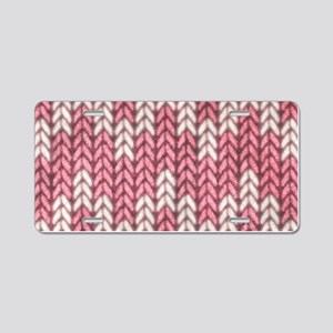 Pink Knit Graphic Pattern Aluminum License Plate