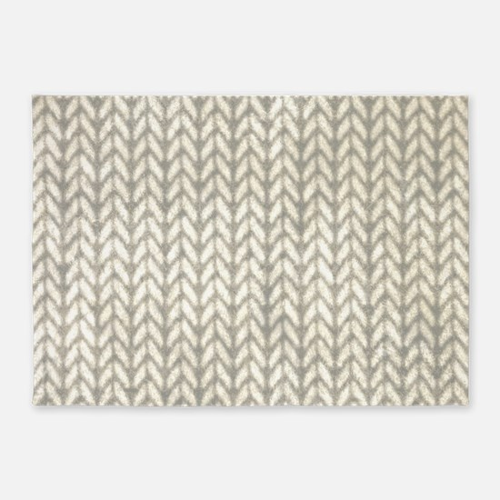 White Knit Graphic Pattern 5'x7'Area Rug