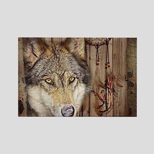 wolf dream catcher birch woodgrain Magnets