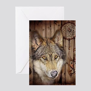 native dream catcher wolf Greeting Cards
