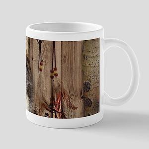 native dream catcher wolf Mugs