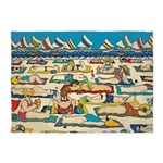 Whimsical Beach People Sailboats 5'x7'area Rug