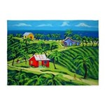 Colorful Houses Tropical Caribbean 5'x7'area Rug