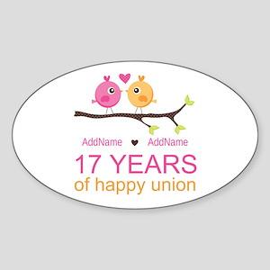 17th Anniversary Two Birds Love Sticker (Oval)
