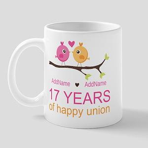17th Anniversary Two Birds Love Mug