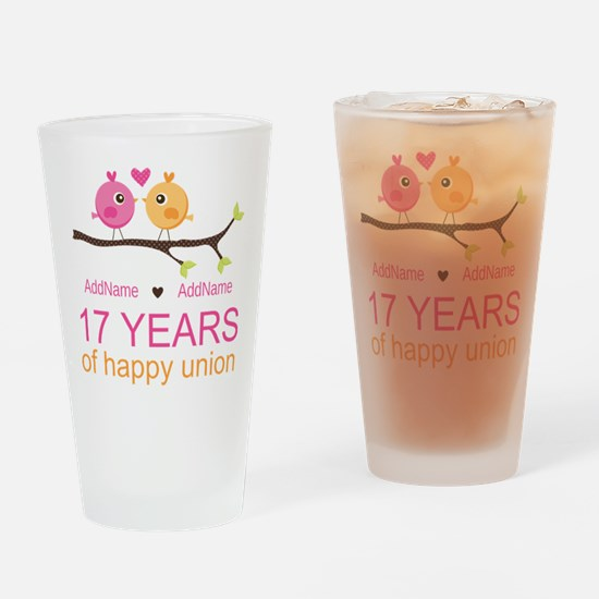 17th Anniversary Two Birds Love Drinking Glass